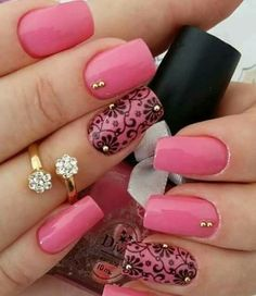 pink and black nail art designs 2016 - Real Hair Cut . Pink Nail Art, Cute Nail Art, Beautiful Nail Art, Easy Nail Art, Pink Nails, Black Nails, Blue Nail, Pink Art, Beautiful Images