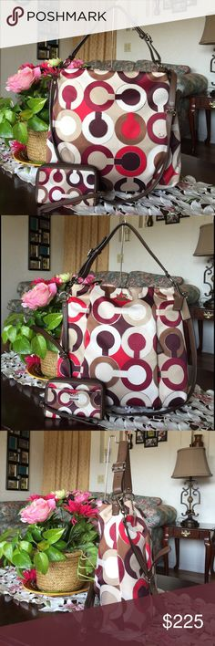 """COACH MADISON OP ART ISABELLE BAG with wristlet GRAPHIC OP ART METALLIC ISABELLE  large crossbody/shoulder bag ,White/red/multicolor ,graphic Op Art metallic fabric with leather trim Inside zip, cell phone and multifunction pockets Zip-top closure, burgundy fabric lining Handle with 12"""" drop Longer strap with 22"""" drop for shoulder or crossbody wear Front side hidden zip pocket (pic 8) 13 1/2"""" (L) x 11 3/4"""" (H) x 3 1/4"""" (W) 2 coach leather hangtags ,this bag is used and has some stains…"""