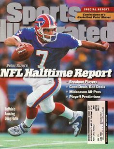1998 Sports Illustrated Doug Flutie Buffalo Bills NFL haltime report by P. Doug Flutie, Ralph Wilson Stadium, Si Cover, Buffalo Bills Football, Sports Illustrated Covers, Sports Magazine, Tennessee Titans, National Football League, Pittsburgh Steelers