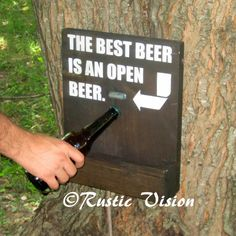 Beer Bar Sign Bottle Opener and Cap Catch Gift by RusticVision, $35.00