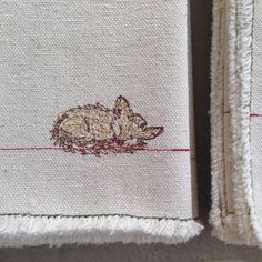 Sleepy little guy. Free Motion Embroidery, Half Apron, Dry Goods, Woodland Animals, Cotton Thread, Tea Towels, Home Goods, Napkins, Fox