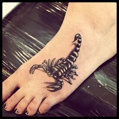 Girl Left Foot Scorpio Tattoo For Girls