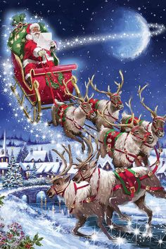 Canvas Wall Art by The Macneil Studio Merry Christmas Gif, Merry Christmas Pictures, Christmas Scenery, Vintage Christmas Images, Christmas Art, Christmas Greetings, Christmas Wishes, Winter Christmas, Xmas Wallpaper