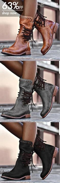 Back Zipper Vintage Boots Lace-Up Holiday Mid-calf Boots Cute Shoes, Me Too Shoes, Bootie Boots, Shoe Boots, Heeled Boots, Women's Boots, Ankle Boots, Boots Sale, Fast Fashion Brands