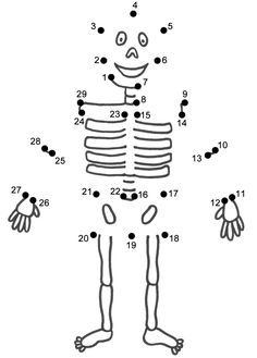 HALLOWEEN COLORINGS skeleton join the dots dot to dot activity sheet for Halloween