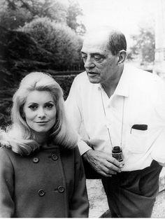"""Luis Buñuel and Catherine Deneuve on the set of """"Belle de Jour"""", 1967."""