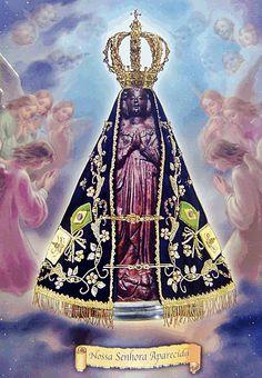 GALERIA DE SUPORTE AO BLOG PALE IDEAS     clique com o botão DIREITO para ampliar as imagens      FESTA DE NOSSA SENHORA APARECIDA    PADR... Blessed Mother Mary, Blessed Virgin Mary, I Love You Mother, Sibling Tattoos, Holy Mary, Art Thou, Believe In God, Knights Templar, Religious Art