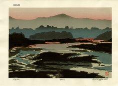 Nishijima Katsuyuki: Lake in Evening - Artelino Japanese Art, Badass Art, Abstract Painting, Painting, Japanese Woodblock Printing, Visual Art, Art, Ukiyoe, Prints