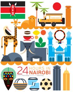 What would you do if you had 24 hours in Nairobi, Kenya? Would you head into the city or check out the wildlife at Nairobi National Park? Kenya Travel, Africa Travel, Travel Illustration, Graphic Design Illustration, Travel Themes, Travel Posters, Africa Continent, East Africa, Africa Art