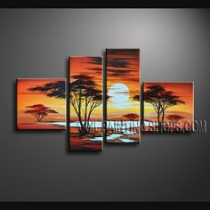 Enchant Contemporary Wall Art Artist Oil Painting For Bed Room Africa Landscape. This 4 panels canvas wall art is hand painted by Bo Yi Art Studio, instock - $138. To see more, visit OilPaintingShops.com