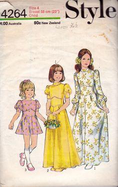 1970s Style 4264 Girls Boho Midriff Panel Bridesmaids Flower Girl Dress Pattern Size 4 Breast 23 inches