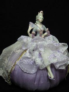 New Porcelain Boudoir Half Doll Pincushion Doll in by KaysStudio, $65.00