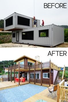 Building A Container Home, Container Buildings, Container Architecture, Architecture Design, Container Homes, Tiny House Cabin, Tiny House Design, Shipping Container Home Designs, Shipping Containers