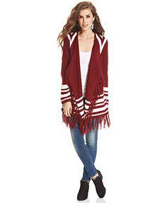 At Last Juniors Sweater, Long Sleeve Graphic Tribal Fringe