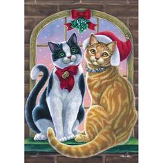 Mistletoe Cats Double Sided Garden Flag