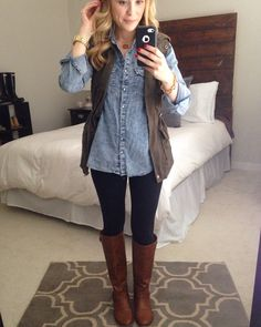 Yes Chambray / utility vest outfit. Outfits Damen, Vest Outfits, Casual Fall Outfits, Fall Winter Outfits, Cute Outfits, Jean Shirt Outfits, Look Fashion, Winter Fashion, Fashion Outfits
