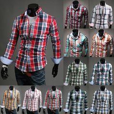 eee0ae07 Slim Fit Plaid Shirt Slim Fit Jackets, Button Down Collar, Button Down Shirt ,