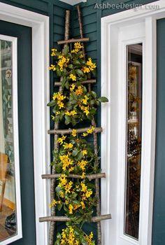 DIY Branch Ladder Flower Display #CountryLandscaping