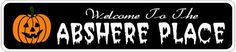 ABSHERE PLACE Lastname Halloween Sign - Welcome to Scary Decor, Autumn, Aluminum - 4 x 18 Inches by The Lizton Sign Shop. $12.99. Great Gift Idea. 4 x 18 Inches. Rounded Corners. Aluminum Brand New Sign. Predrillied for Hanging. ABSHERE PLACE Lastname Halloween Sign - Welcome to Scary Decor, Autumn, Aluminum 4 x 18 Inches - Aluminum personalized brand new sign for your Autumn and Halloween Decor. Made of aluminum and high quality lettering and graphics. Made to last f...
