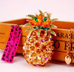 Betsey Johnson $8.99 Crystal Pineapple Necklace & free gift Fast ship USA #BetseyJohnson #Chain