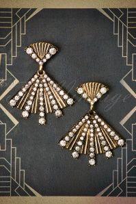 30s Rosalie Fan Earrings in Antique Gold