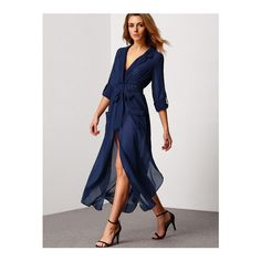 SheIn(sheinside) Royal Blue Deep V Neck Self-Tie Pockets Chiffon Dress ($18) ❤ liked on Polyvore featuring dresses, blue, shift dress, maxi dresses, blue dress, long-sleeve shift dresses and long sleeve chiffon dress
