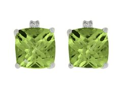 Cushion Cut Peridot Gemstone Diamond White Gold Earrings (Online at Gemologica.com)
