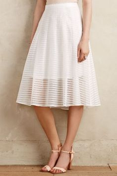 Shadow Stripe Midi Skirt - anthropologie.com - So feminine, I'll rock this with a white wife beater and chunky necklace.