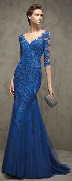 Graceful Dot Tulle & Tulle V-neck Neckline Mermaid Evening Dresses with Lace Appliques Mermaid Evening Dresses, Evening Gowns, Prom Dresses, Formal Dresses, Elegant Dresses, Pretty Dresses, Lace Dress, Dress Up, Glamour