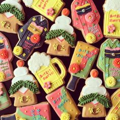 japanese new year cookies - dont even know if there is a recipe attached to this pin but YUM and they are so pretty! Fancy Cookies, Iced Cookies, Cute Cookies, Cupcake Cookies, Sugar Cookies, Cupcakes, Japanese Cookies, Japanese Sweets, Sugar Cookie Frosting