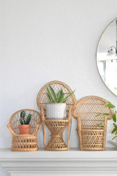vintage wicker peacock chair planter / plant stand / doll chair / boho chic / 1 chair