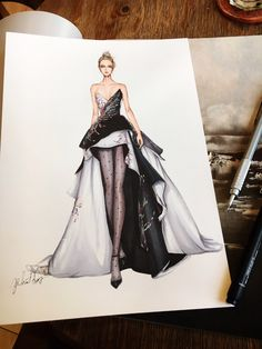 Haute couture spring 2017 on Behance Dress Design Sketches, Fashion Design Sketchbook, Fashion Design Drawings, Fashion Sketches, Fashion Drawing Dresses, Fashion Illustration Dresses, Fashion Illustrations, Drawing Fashion, Dress Fashion