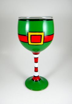 Elf wine glass hand painted Christmas by ImpulsiveCreativity, $20.00
