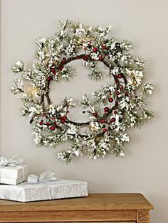 Let it snow! Frosty wreath from Blair is great on the wall – or as a candle ring.
