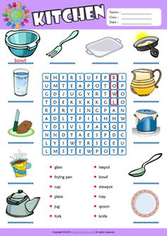 Kitchen ESL Printable Picture Dictionary, Vocabulary Matching Exercise, Word Search Puzzle, Crossword Puzzle Worksheets for Kids! Nutrition And Dietetics, Nutrition Guide, Nutrition Education, Food Nutrition, Vocabulary Worksheets, Worksheets For Kids, English Vocabulary, Printable Worksheets, English Lessons