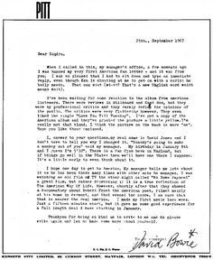 David Bowie in reply to his first American fan letter. The fan in question was 14-year-old Sandra Dodd, a young girl from New Mexico - 1967.