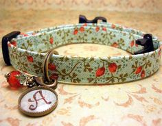 Safety Cat collar - Cat collar - Safety cat collar - Personalized Initial Charm - Rust Rosebuds - Sea Green Ground on Etsy, $14.50