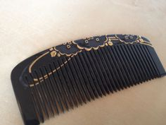 Japanese raised genuine gold metal & black lacquer ware style kanzashi kushi comb from Etsy