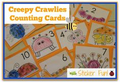 Creepy Crawly Counting Cards--place stickers on the cards and count. Great for math and fine motor! Motor Skills Activities, Preschool Learning Activities, Alphabet Activities, Preschool Math, Kids Learning, Kindergarten, Common Core Writing, Writing Prompts For Kids, Inspired Learning