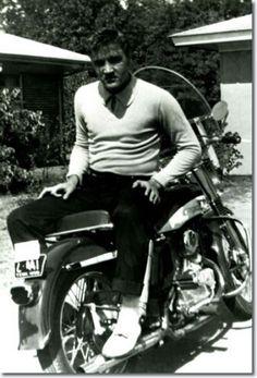 Elvis Presley on his Harley-Davidson motorcycle