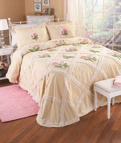 Refresh your bedroom with the pretty pink flowers on this Diamond Floral Chenille Bedspread or Sham. These intricate pieces have a tufted design that is as delightful to look at as it is to relax upon. Flowers are positioned in the diamond shapes.