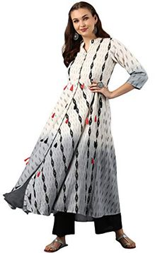 40019ae075 Janasya Women Cream Cotton Flared Printed Tassel Kurta  priceonline  india   shopping India Shopping