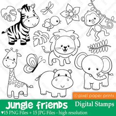 Embroidery Patterns of Jungle Friends Digital stamps Clipart by pixelpaperprints. Jungle Animals, Rainforest Animals, Farm Animals, Jungle Jungle, Animals Sea, Arctic Animals, Woodland Animals, Digi Stamps, Colouring Pages