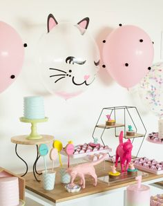 3rd Birthday Party For Girls, Puppy Birthday Parties, Cute Happy Birthday, Cat Birthday, Birthday Party Decorations, Kitten Party, Cat Party, Baby Christmas Photos, Kitten Birthday Parties
