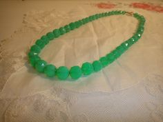 Vintage faceted uranium glass bead necklace by VintagePrettyThingsx on Etsy