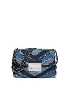 Sloan+Small+Frayed+Denim+Shoulder+Bag,+Multi+Blue+by+MICHAEL+Michael+Kors+at+Neiman+Marcus.