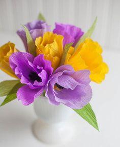 Hướng dẫn làm hoa tuylip đơn giản bằng giấy nhún