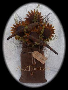 ~★Primitive Grungy Sunflowers w/Crows Burlap Bag Door Hanger★