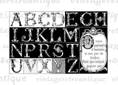 Printable Graphic Ancient Alphabet Digital Collage Sheet Image Download Vintage Clip Art. High resolution printable graphic. This vintage high quality digital artwork is great for transfers, printing, tote bags, tea towels, t-shirts, and much more. Antique artwork. This digital graphic is high quality and high resolution at size 8½ x 11 inches. Transparent background PNG version included.