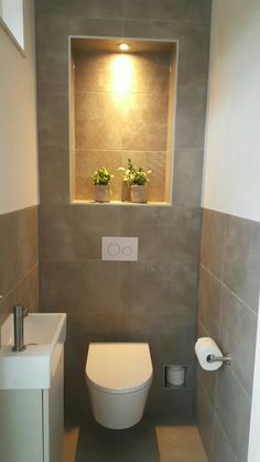 Gäste wc Fliesen und Toilette Understairs Ideas Fliesentoilette If you simply do not have the time t Small Toilet Room, Guest Toilet, Bad Inspiration, Bathroom Inspiration, Bathroom Design Small, Bathroom Interior Design, Cloakroom Toilet Downstairs Loo, Toilet Closet, Bathroom Closet